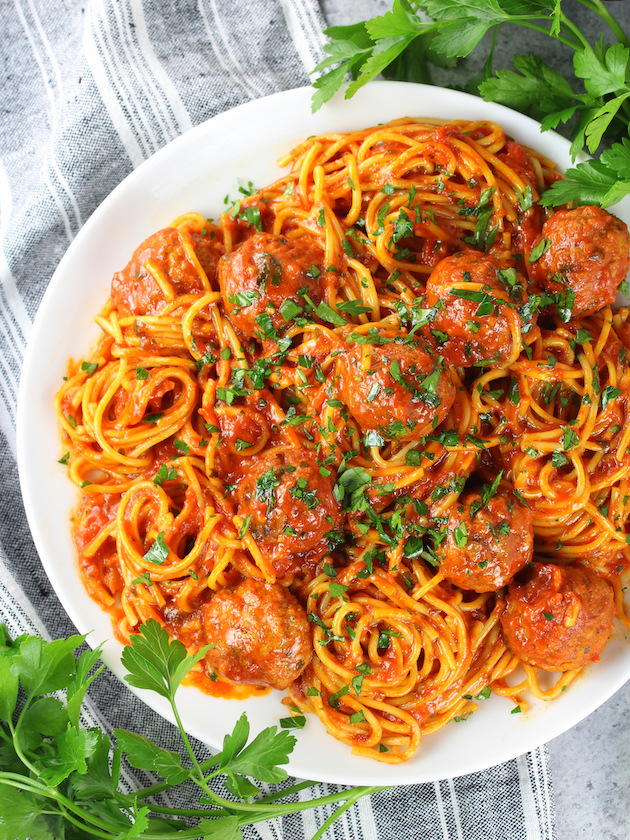 Instant Pot Spaghetti and Turkey Meatballs on Partial Platter