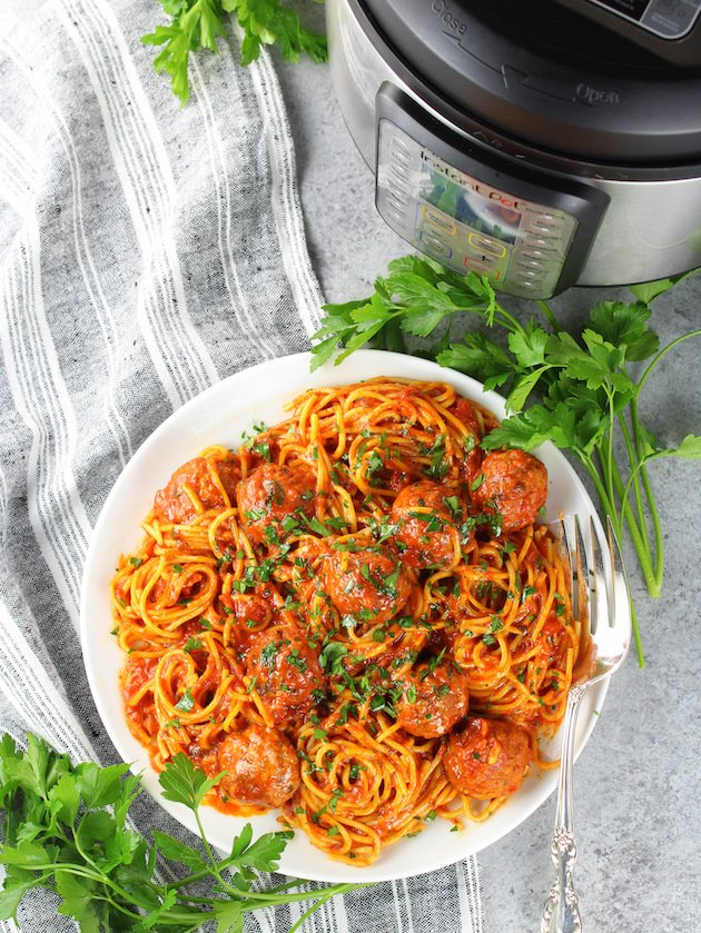 How to make Instant Pot Spaghetti and Turkey Meatballs - Recipe and Image
