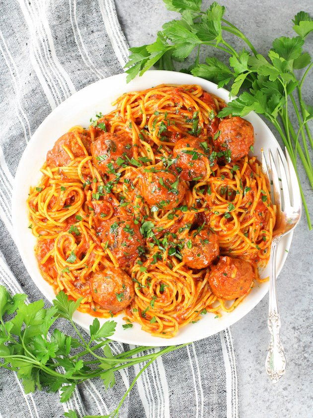 Instant Pot Spaghetti and Turkey Meatballs - Recipe and Image Plate of spaghetti & meatballs