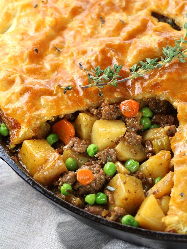 Cottage Beef Pot Pie with Potatoes and Parsnips partial pan of pot pie