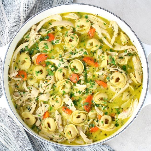 Creamy Tortellini Soup with Chicken