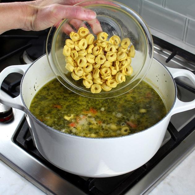 How to make Creamy Tortellini Soup with Chicken - adding tortellini