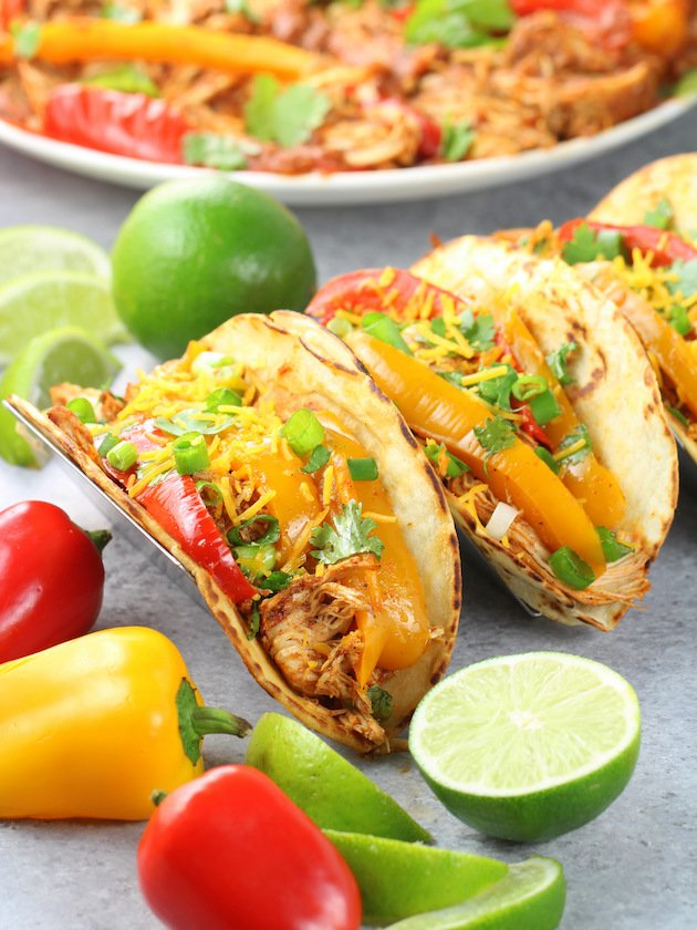 Crockpot Chicken Fajitas - Three tacos