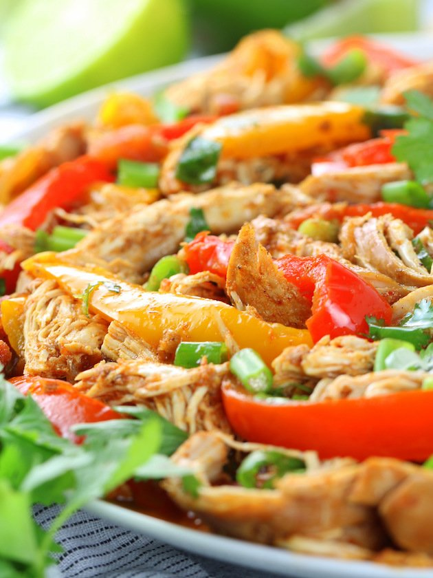Crockpot Chicken Fajitas - Eye level up close platter
