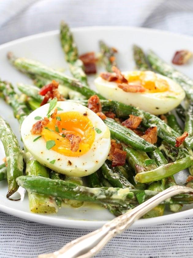 Asparagus Egg and Bacon Salad with Dijon Vinaigrette Image - On Plate