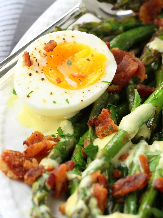 Asparagus Egg and Bacon Salad with Dijon Vinaigrette Image & Recipe