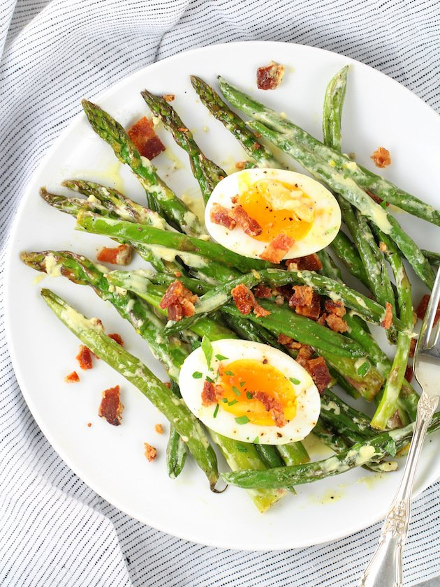 Asparagus Egg and Bacon Salad with Dijon Vinaigrette Image - On Plate