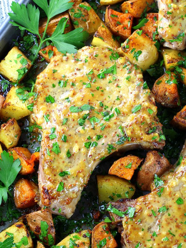 Baked Pork Chop Recipe with Honey Mustard Sauce Image