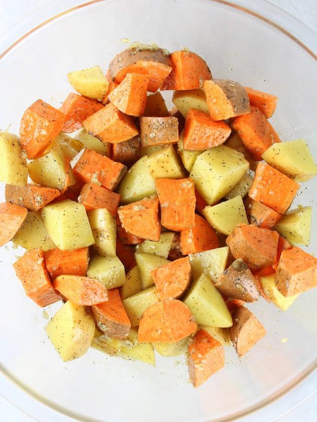 Baked Pork Chop Recipe with Honey Mustard Sauce Image - sweet potatoes and Yukon gold potatoes