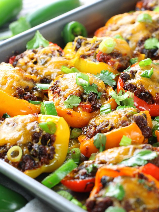 Low Carb Nachos - Mexican Stuffed Peppers - Eye Level Nachos In Pan