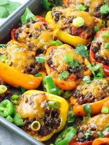 Close up mexican stuffed peppers