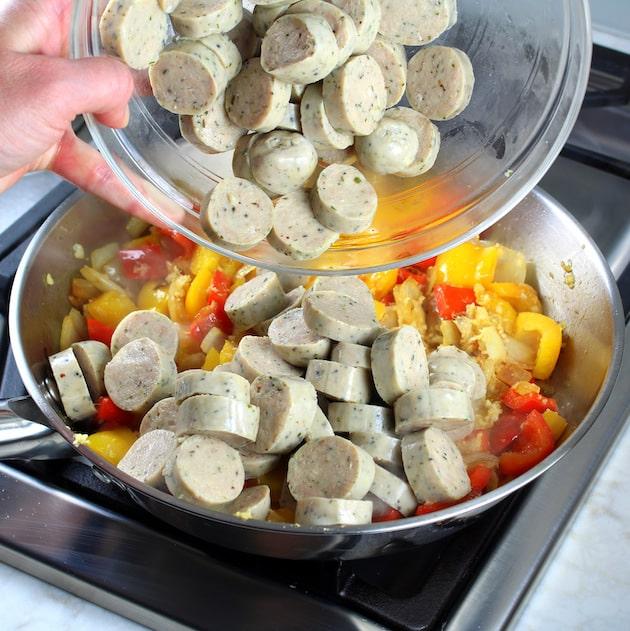 How to make Pineapple Chicken - adding chicken sausage