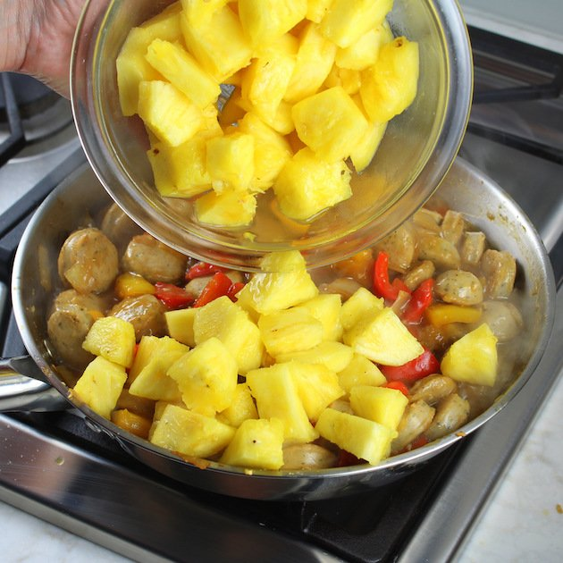 How to cook pineapple chicken - adding pineapple