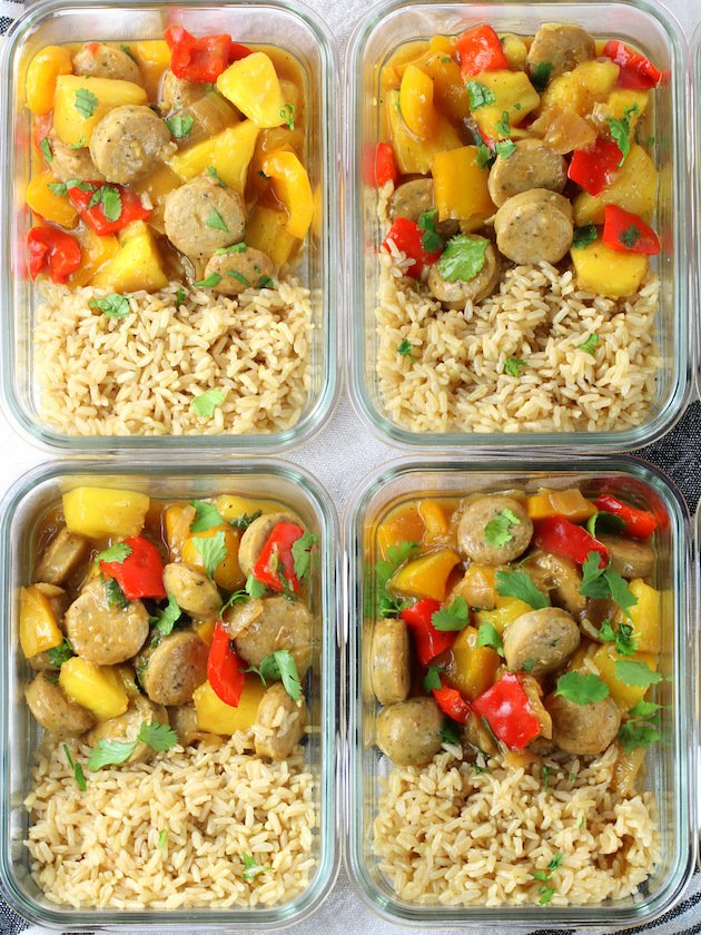 Pineapple Chicken and Brown Rice in Meal Prep Containers