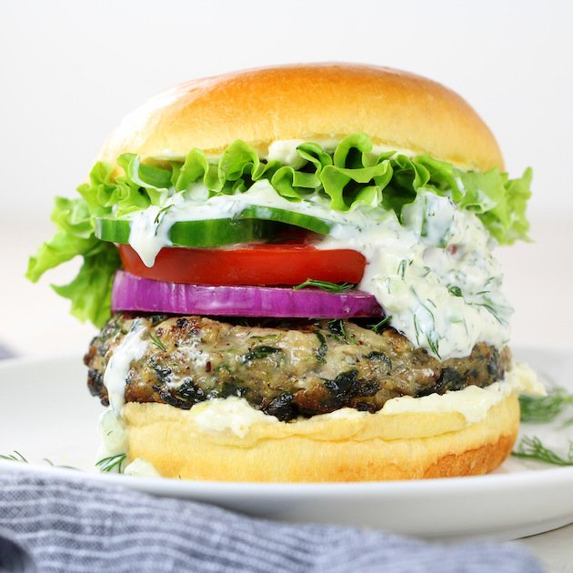 Chicken Burger with Feta Cheese and Spinach