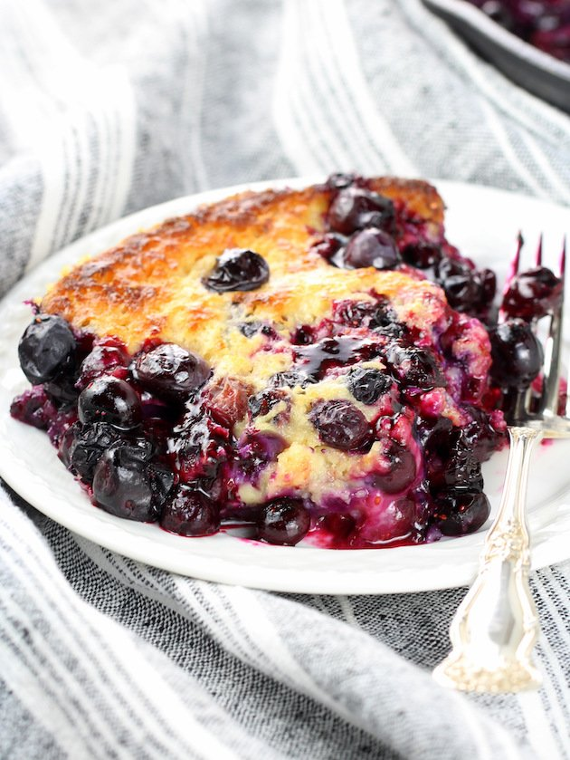 close up blueberry cobbler image
