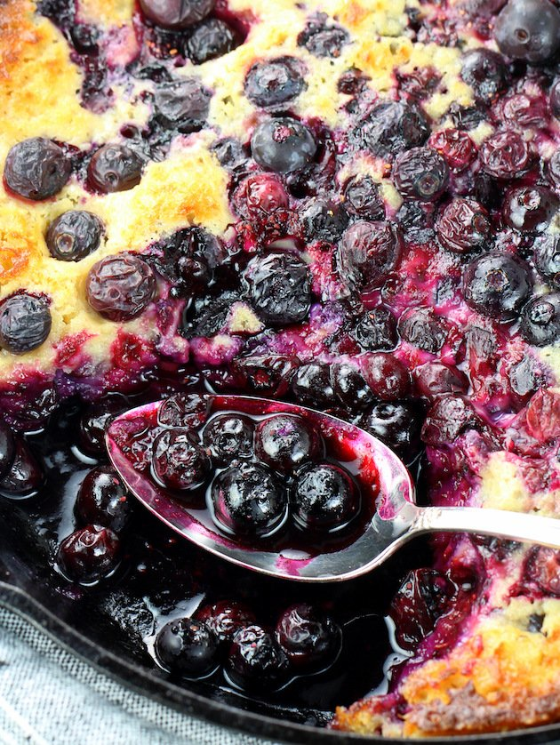 how to make lemon Blueberry Cobbler in cast iron skillet