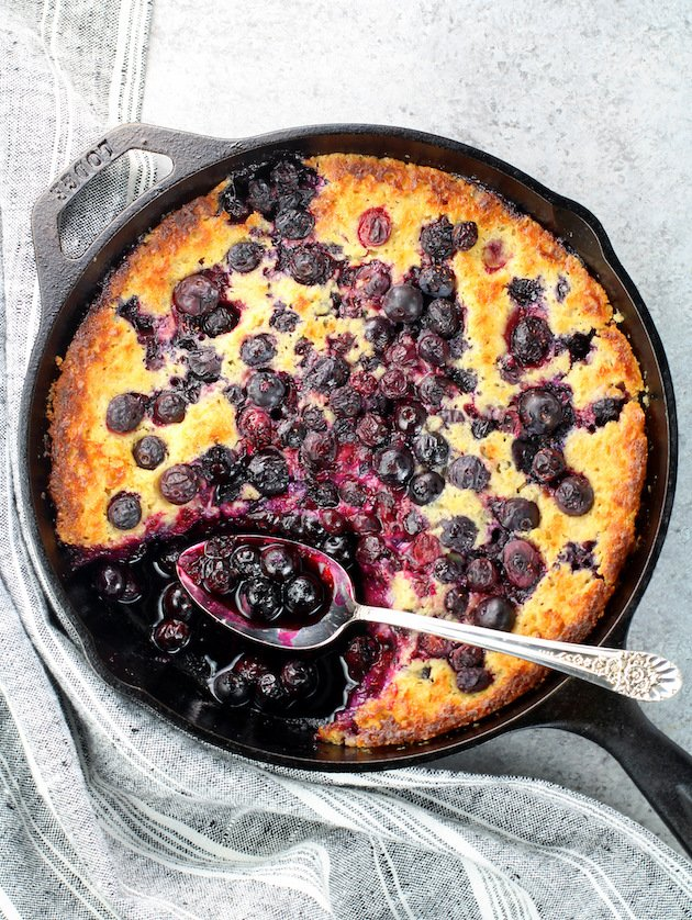 Blueberry Cobbler in cast iron skillet