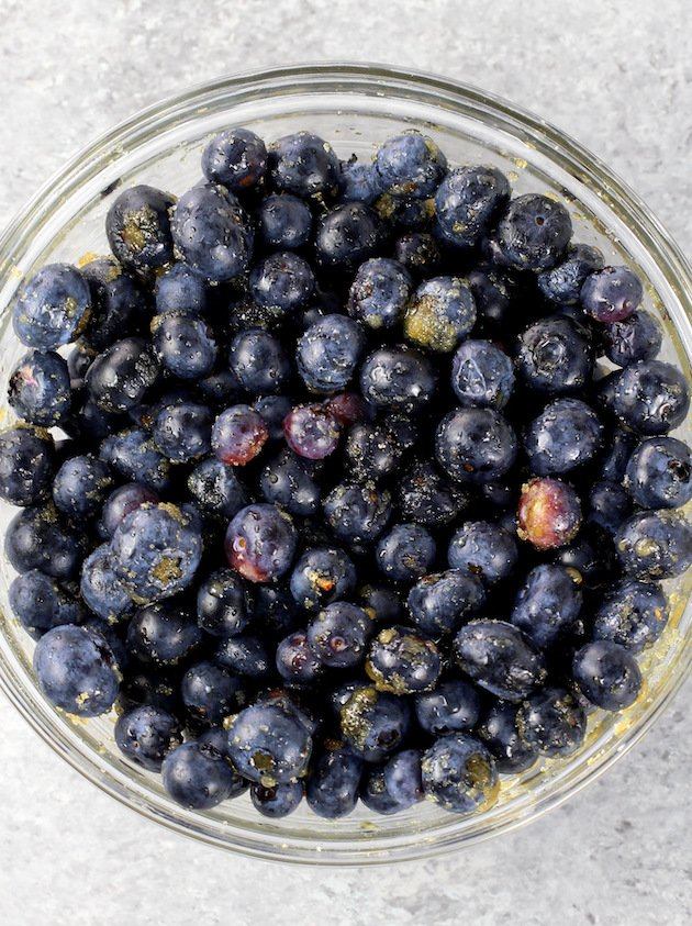 bowl of blueberries with lemon zest
