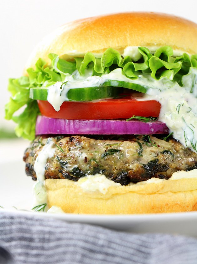 Chicken Burgers with Tzatziki Sauce and Feta Cheese