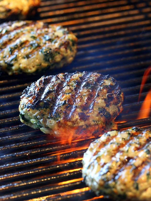 Chicken Burgers Grilling on grill
