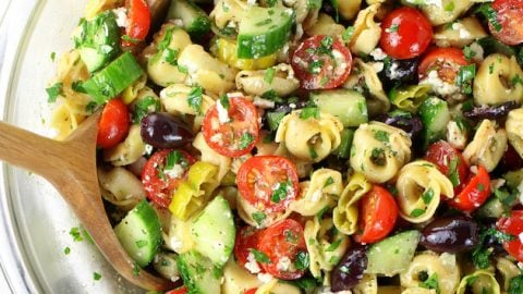 Greek Tortellini Pasta Salad with Feta Cheese