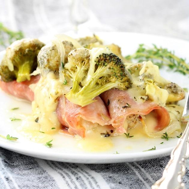 Chicken Cordon Bleu Casserole with Broccoli and Swiss Cheese