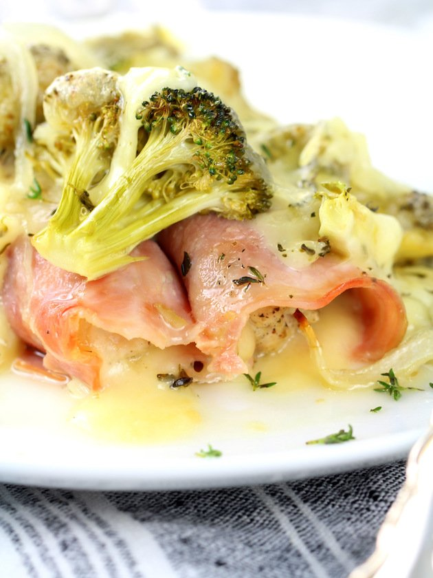 Close up plate with ham wrapped chicken and swiss cheese