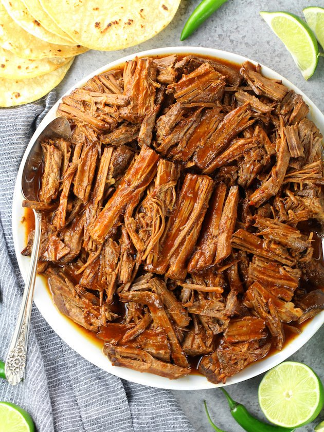 Pulled Beef Barbacoa On Plate