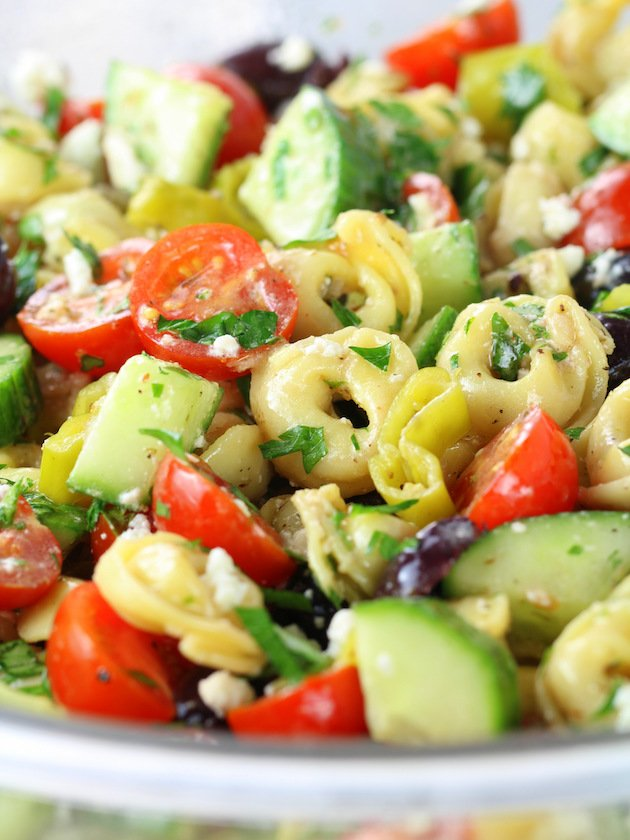 Close up of pasta salad with tortellini pasta, kalamata olives, tomatoes, cucumbers