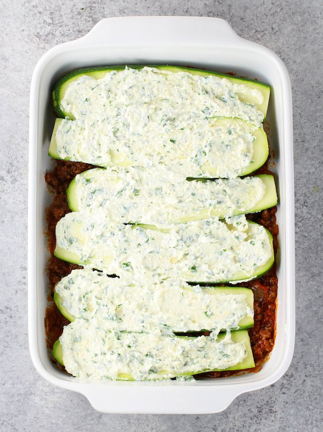 how to layer low carb lasagna with ricotta