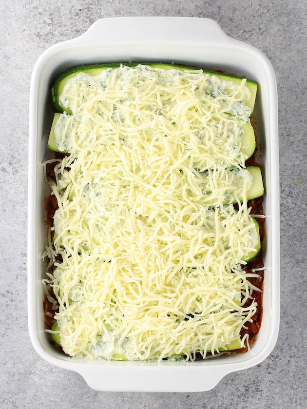 Zucchini lasagna in casserole dish