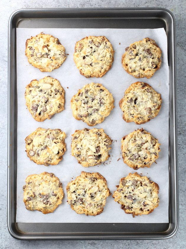 Cookie sheet of almond chocolate chip cookies