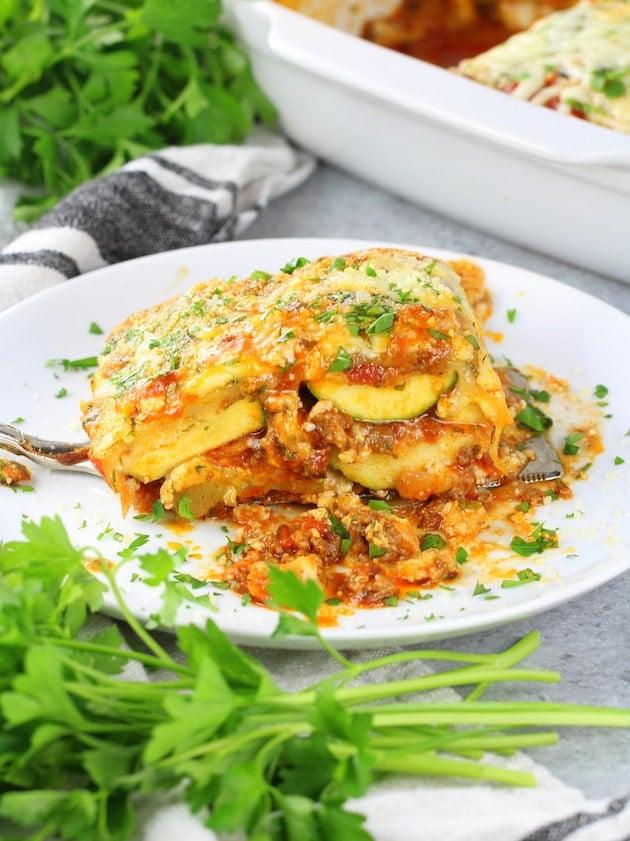 Low Carb Gluten Free Zucchini Lasagna
