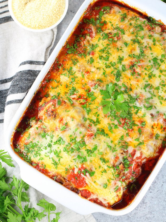 Low Carb Zucchini Lasagna in a pan