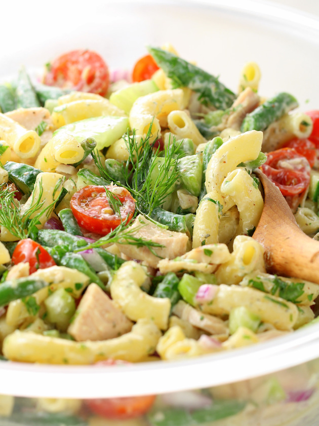 Eye level closeup of pasta salad