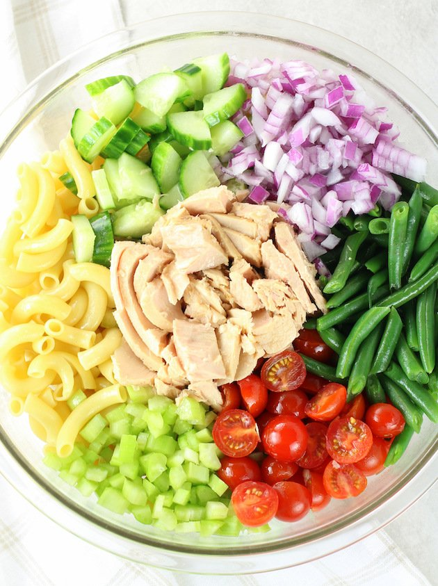 Picture of ingredients for tuna pasta salad