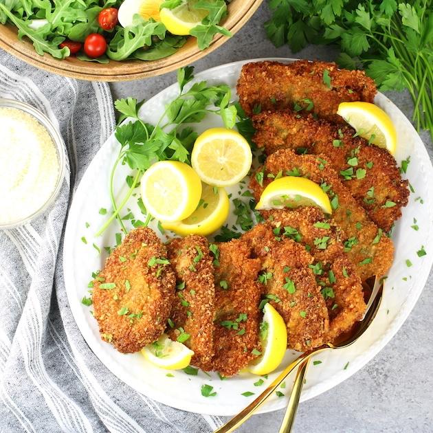 Crispy Veal Cutlets with Lemon and Arugula