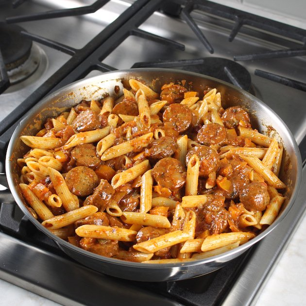 How to make Chicken Taco Pasta Skillet with chicken sausage
