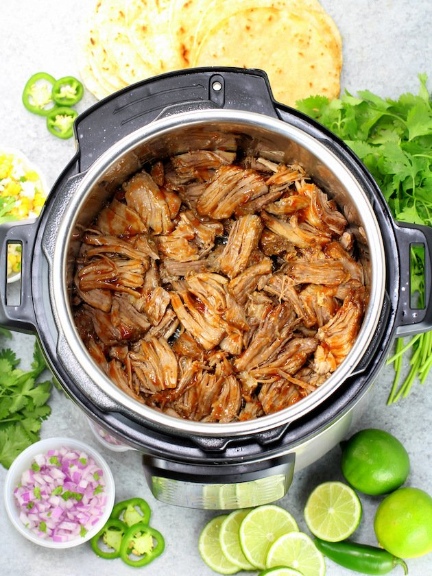 Instant pot full of Carnitas meat