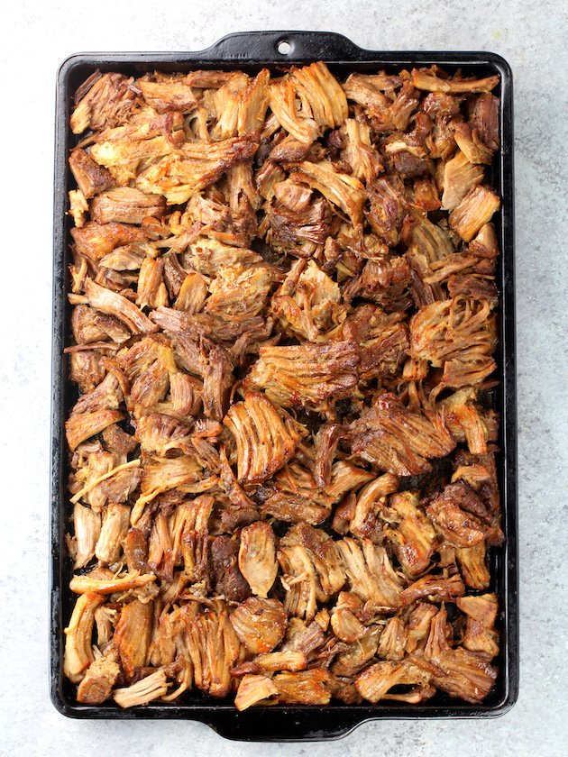 Baking sheet full of Pulled Pork Carnitas