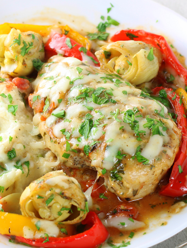 Cheesy Italian Chicken Skillet close up on a dinner plate