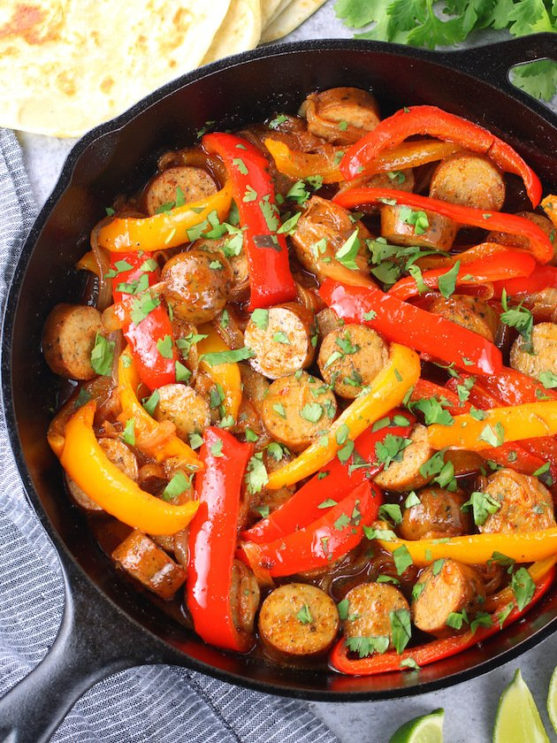 How to make Cast Iron Skillet Chicken Sausage Fajitas