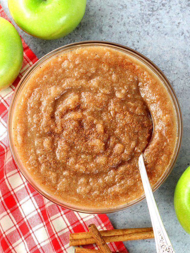 A bowl of food homemade apple sauce