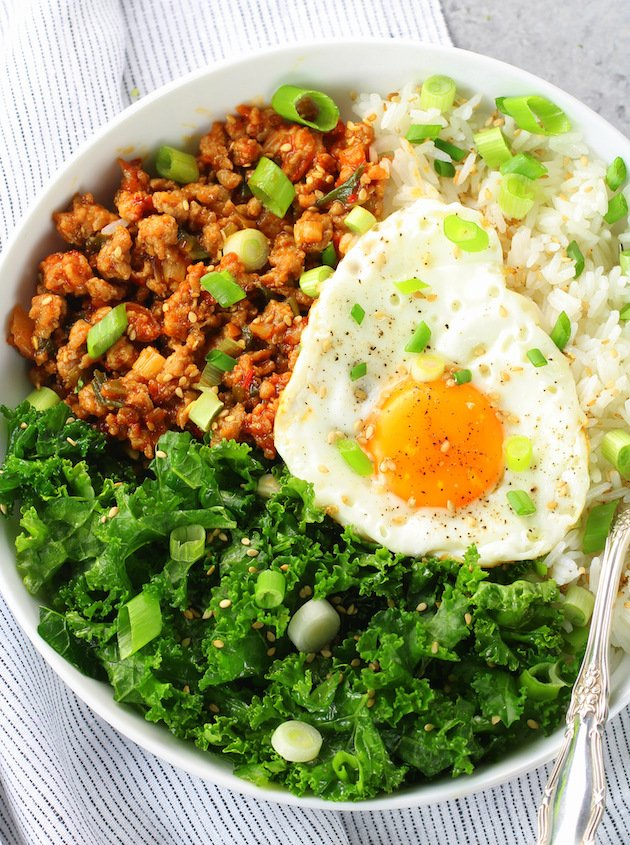 Korean Chicken Bowl with Kale Recipe & Image