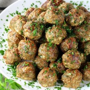 large platter full of baked turkey meatballs