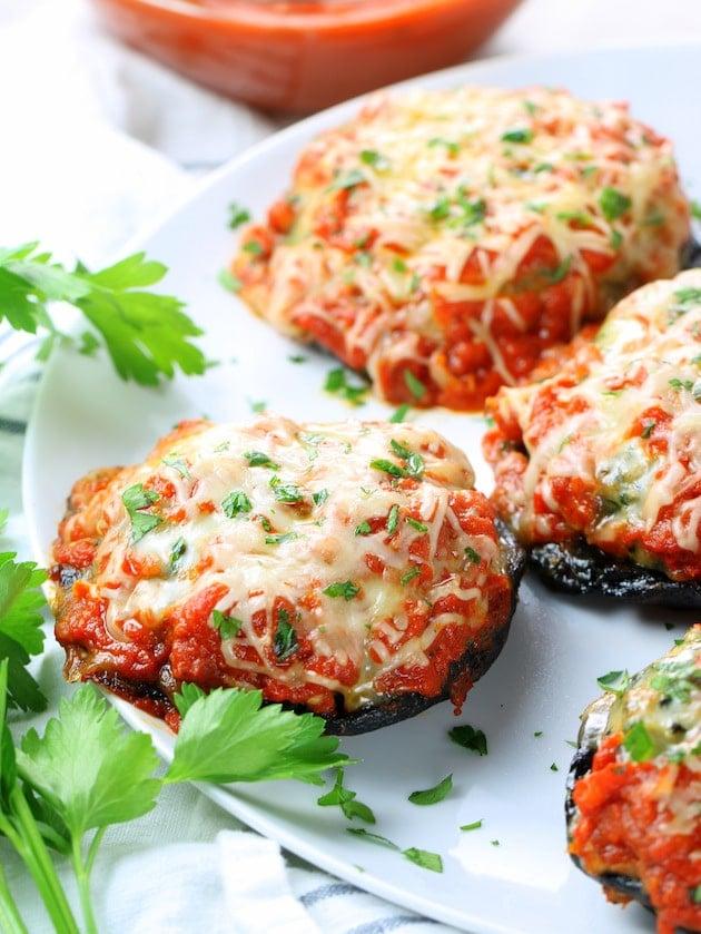 Eye Level Chicken Parmesan Stuffed Portobello Mushrooms Recipe & Image