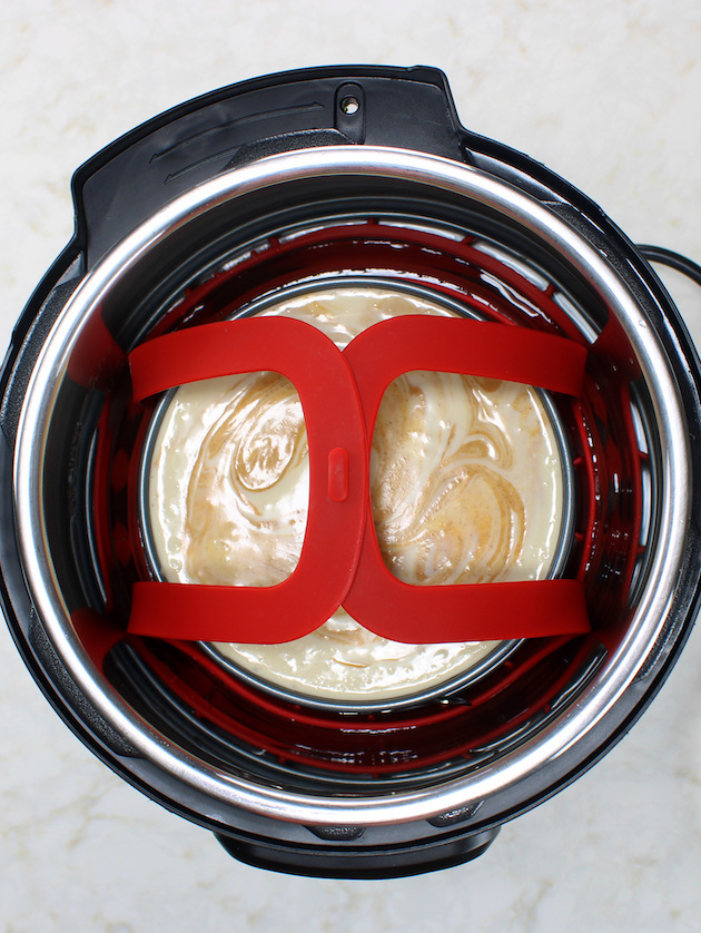 Instant pot cheesecake in the Instant Pot before cooking