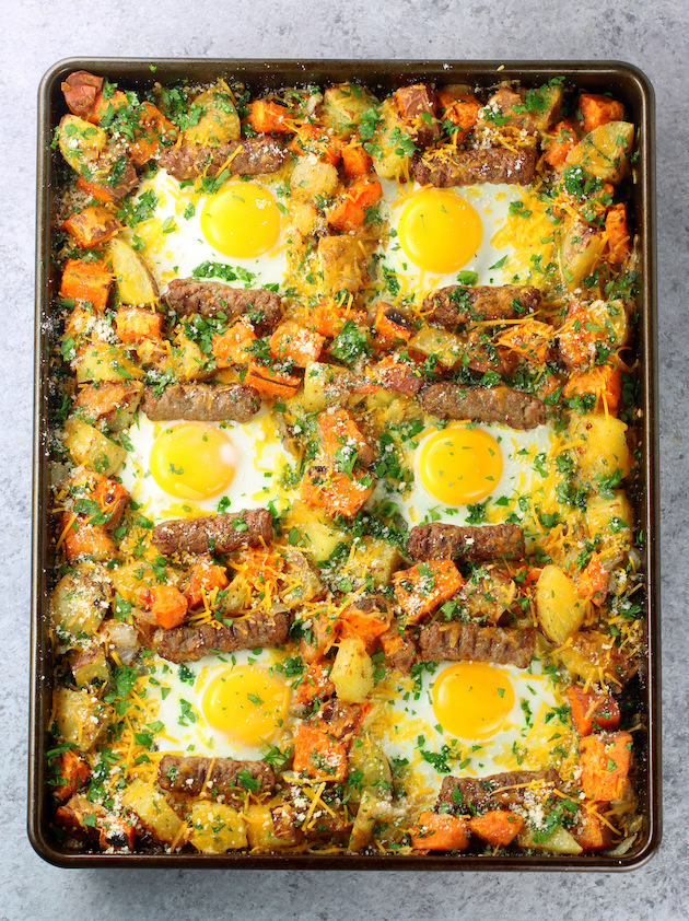 How to make turkey sausage breakfast sheet pan