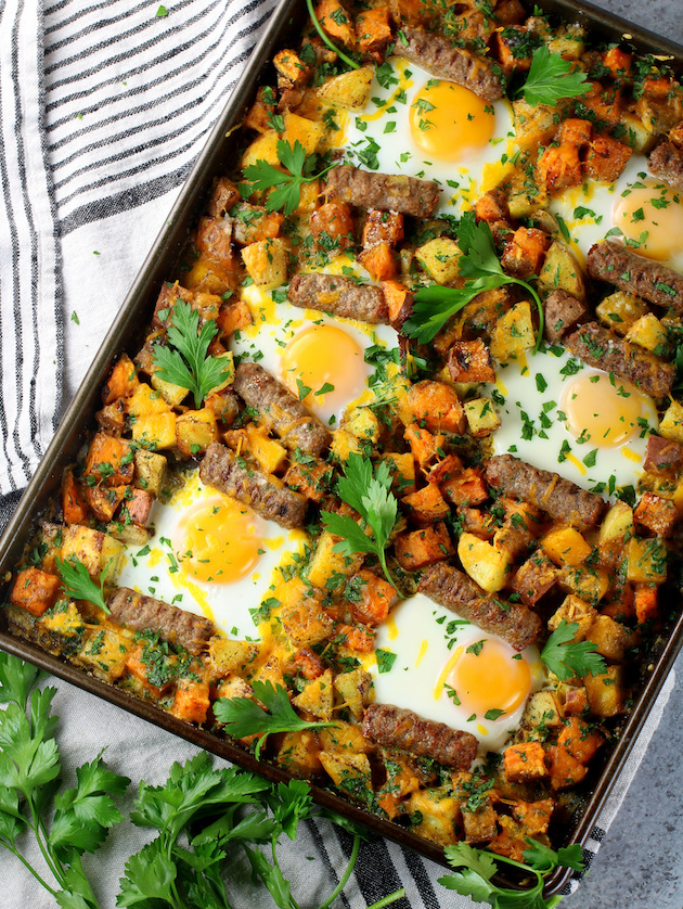 Sweet Potato Turkey Sausage Breakfast Sheet Pan